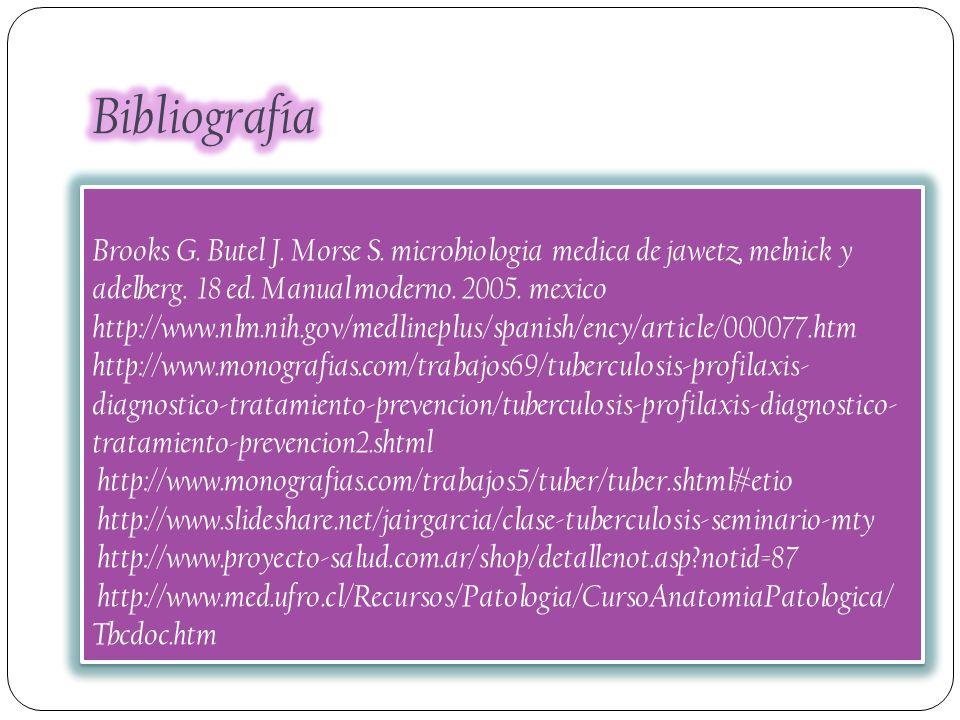 Bibliografía Brooks G. Butel J. Morse S. microbiologia medica de jawetz, melnick y adelberg. 18 ed. Manual moderno. 2005. mexico.