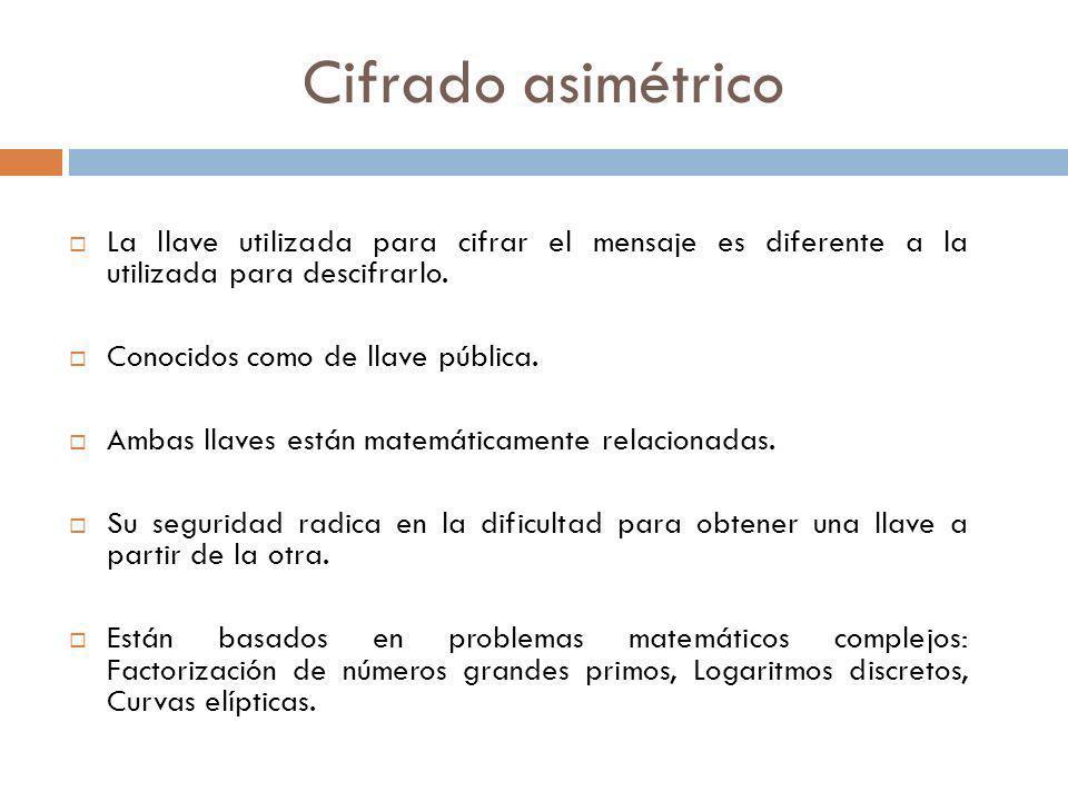 Cifrado asimétricoLa llave utilizada para cifrar el mensaje es diferente a la utilizada para descifrarlo.