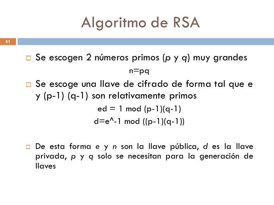 Algoritmo de RSA Se escogen 2 números primos (p y q) muy grandes