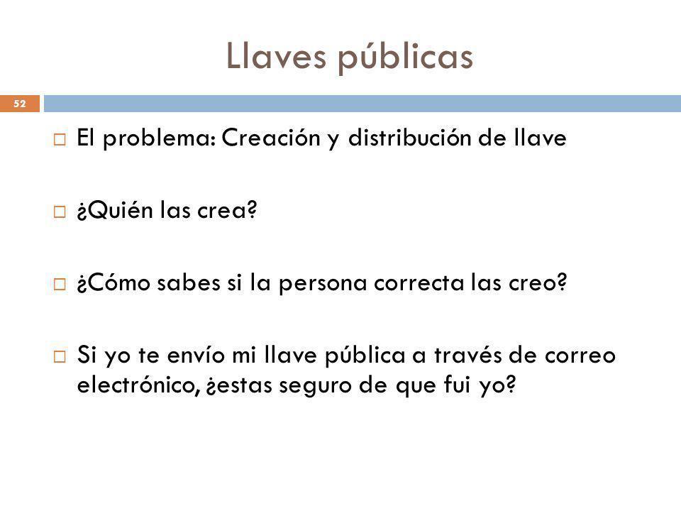 Llaves públicas El problema: Creación y distribución de llave