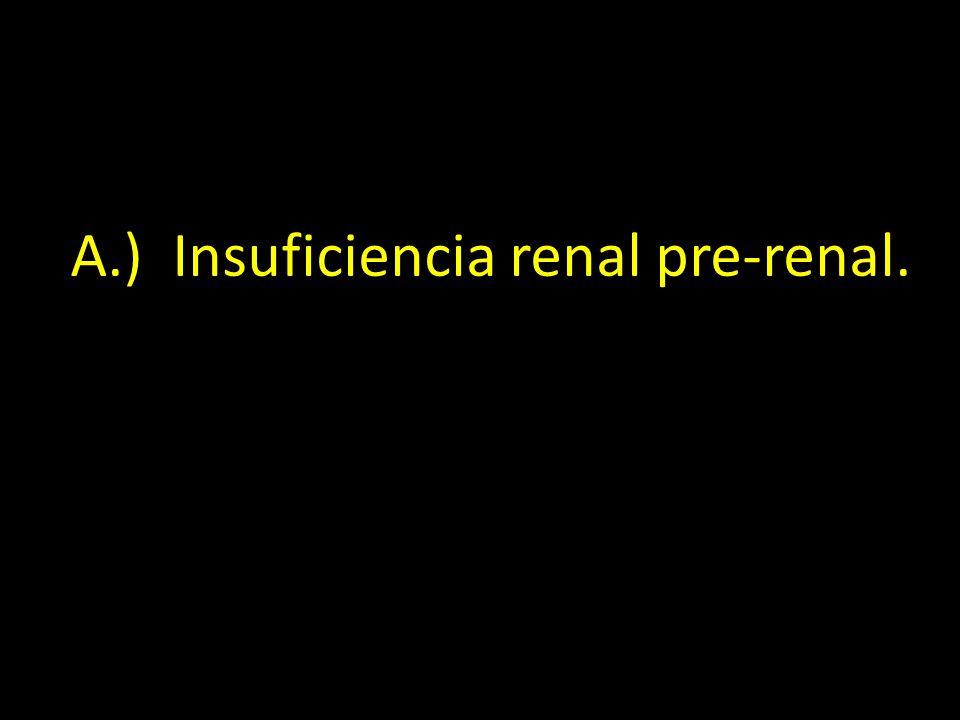 A.) Insuficiencia renal pre-renal.