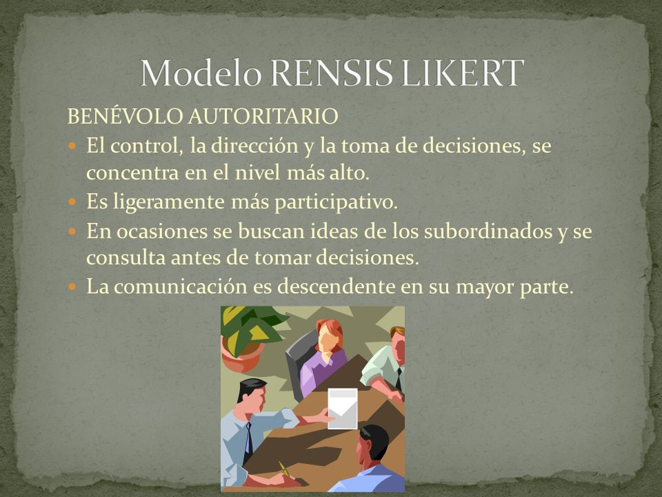Modelo RENSIS LIKERT BENÉVOLO AUTORITARIO