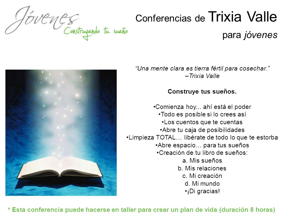 Conferencias de Trixia Valle para jóvenes