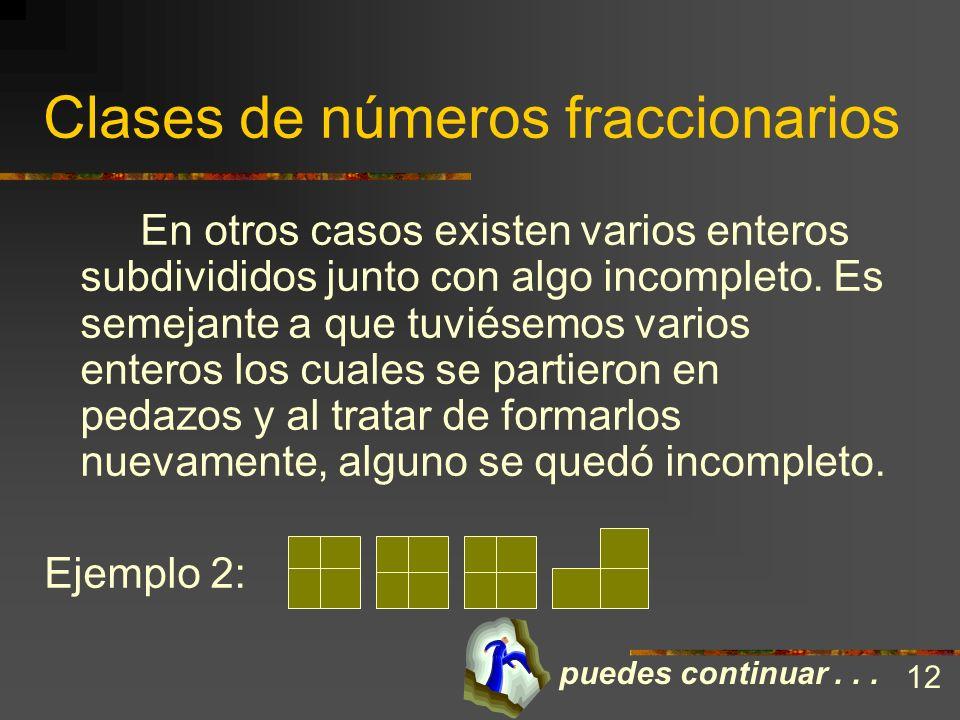Clases de números fraccionarios