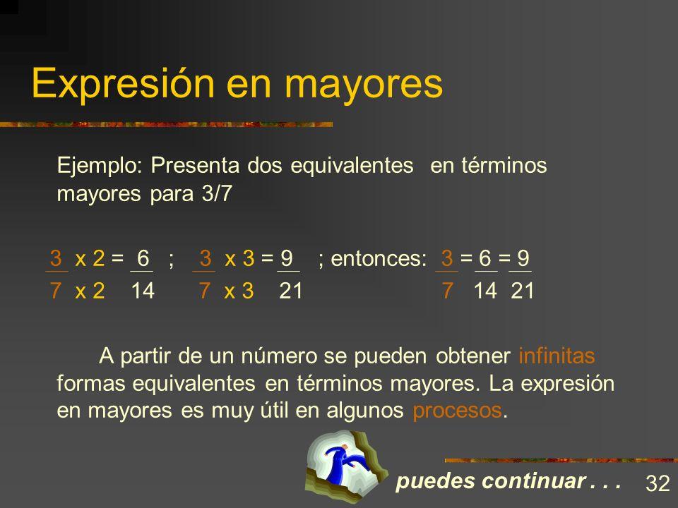 Expresión en mayores Ejemplo: Presenta dos equivalentes en términos mayores para 3/7. 3 x 2 = 6 ; 3 x 3 = 9 ; entonces: 3 = 6 = 9.
