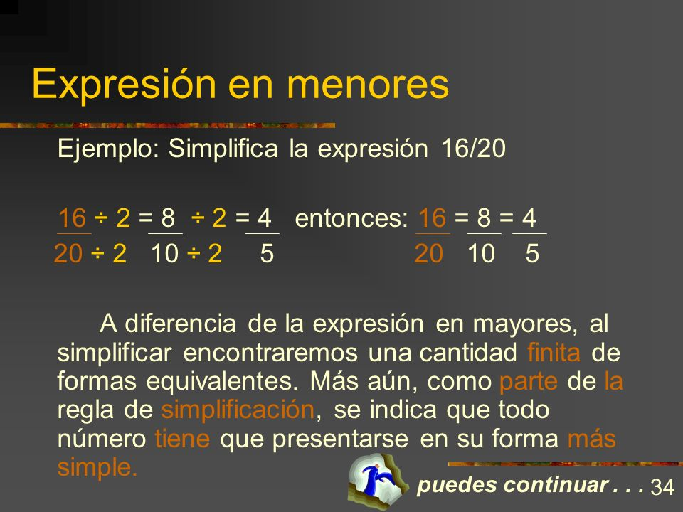 Expresión en menores Ejemplo: Simplifica la expresión 16/20