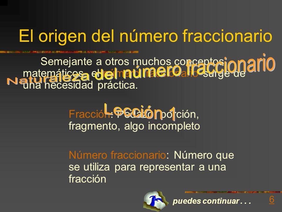 El origen del número fraccionario