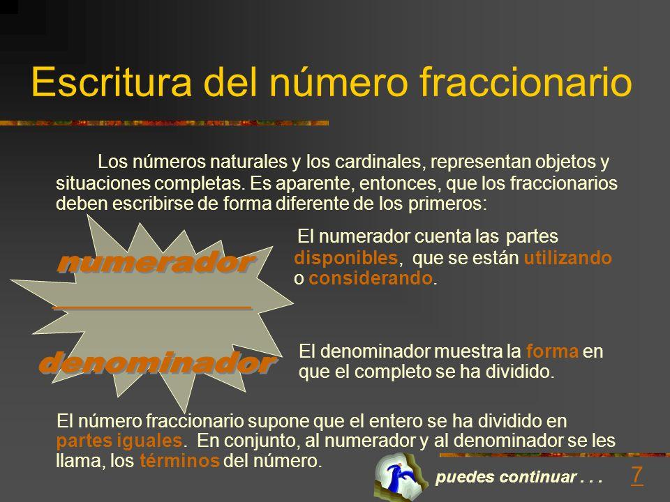 Escritura del número fraccionario