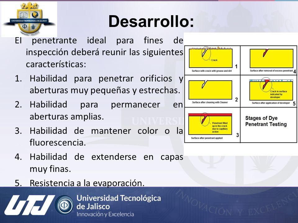 Desarrollo: El penetrante ideal para fines de inspección deberá reunir las siguientes características: