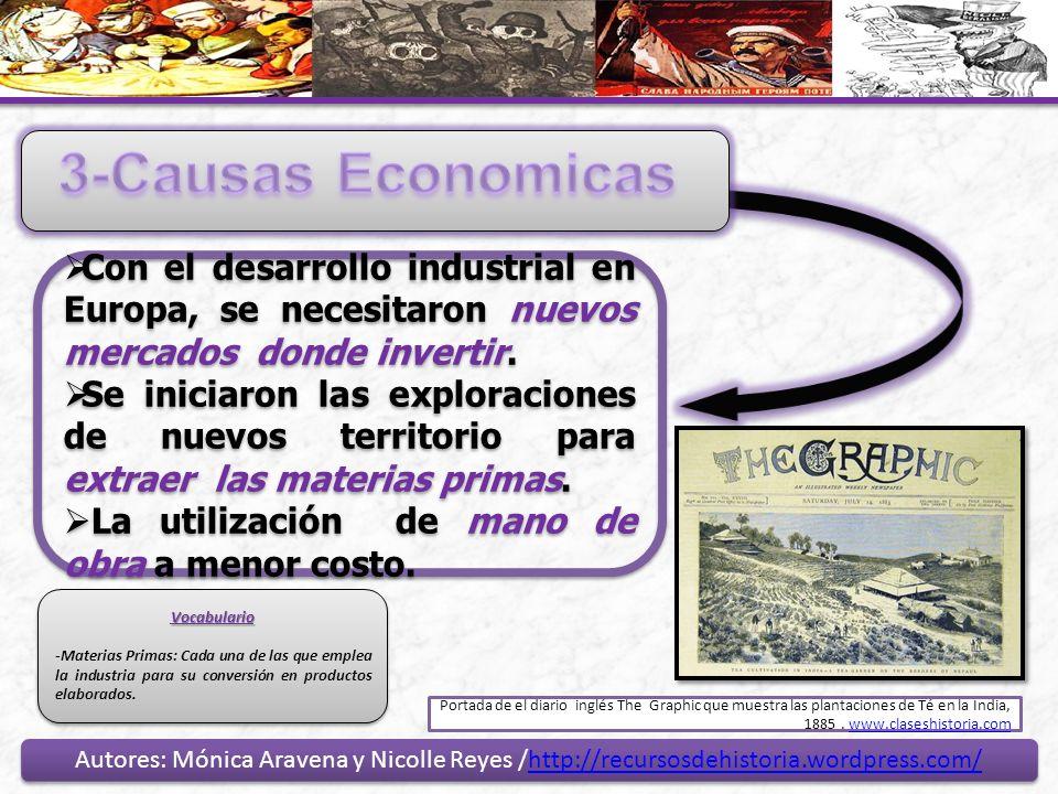 3-Causas EconomicasCon el desarrollo industrial en Europa, se necesitaron nuevos mercados donde invertir.
