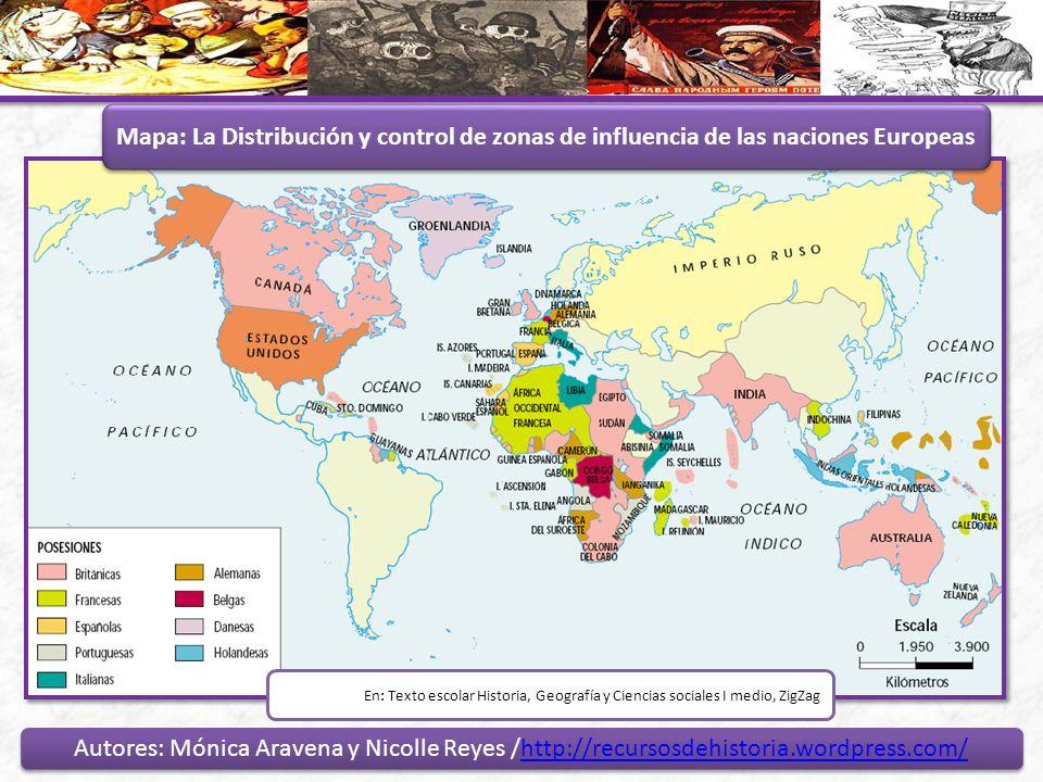Mapa: La Distribución y control de zonas de influencia de las naciones Europeas