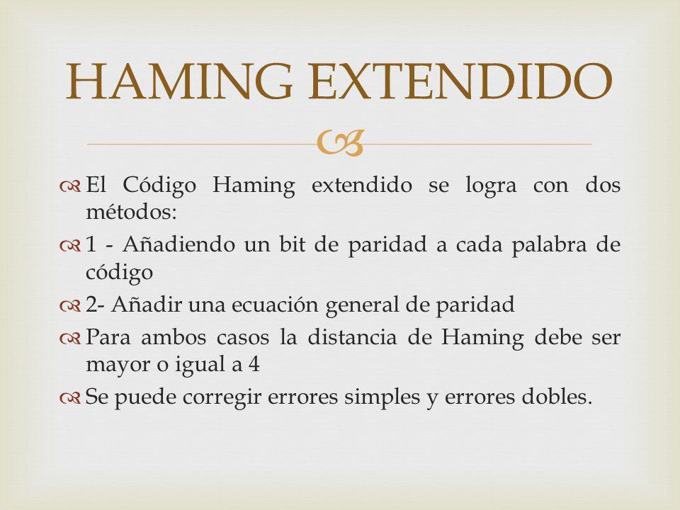 HAMING EXTENDIDO El Código Haming extendido se logra con dos métodos:
