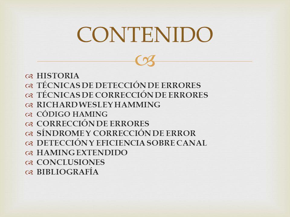 CONTENIDO HISTORIA TÉCNICAS DE DETECCIÓN DE ERRORES