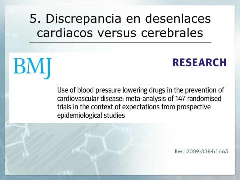 5. Discrepancia en desenlaces cardiacos versus cerebrales