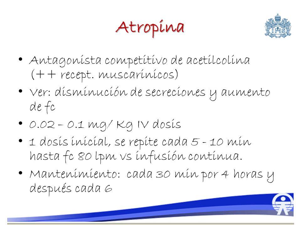 Atropina Antagonista competitivo de acetilcolina (++ recept. muscarinicos) Ver: disminución de secreciones y aumento de fc.
