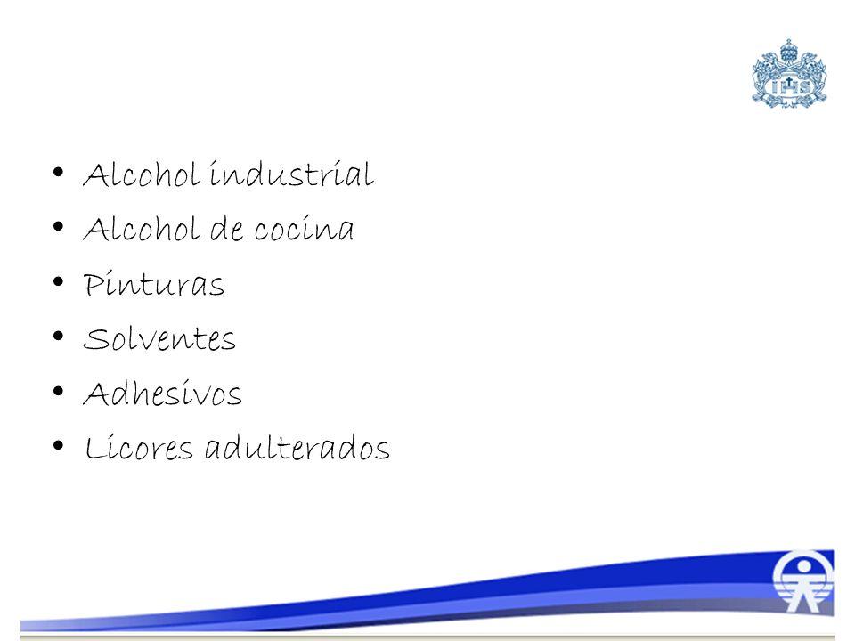 Alcohol industrial Alcohol de cocina Pinturas Solventes Adhesivos