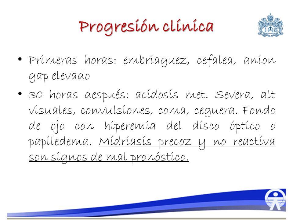 Progresión clínica Primeras horas: embriaguez, cefalea, anion gap elevado.