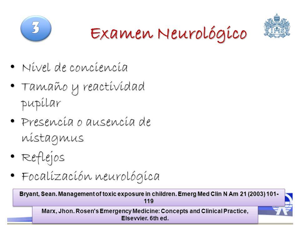 Examen Neurológico 3 Nivel de conciencia Tamaño y reactividad pupilar