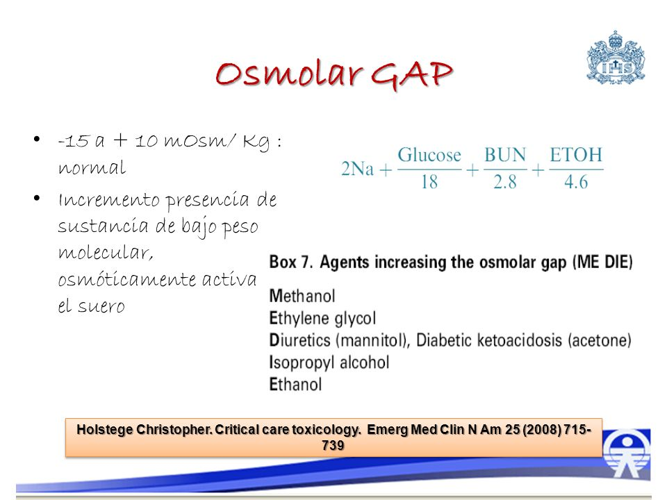 Osmolar GAP -15 a + 10 mOsm/ Kg : normal