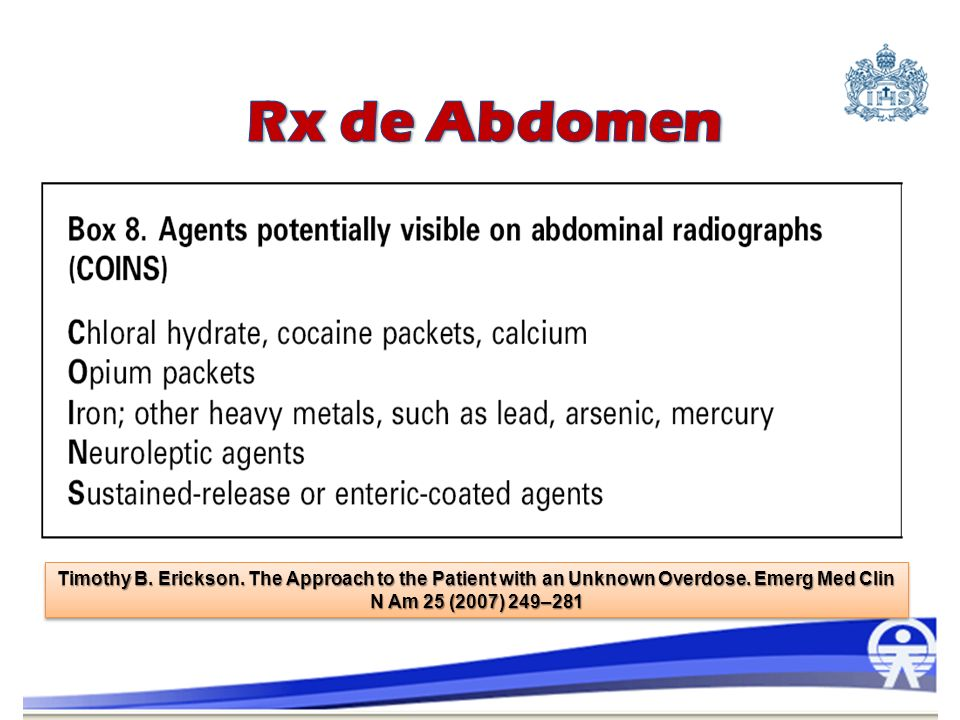 Rx de Abdomen Timothy B. Erickson. The Approach to the Patient with an Unknown Overdose.