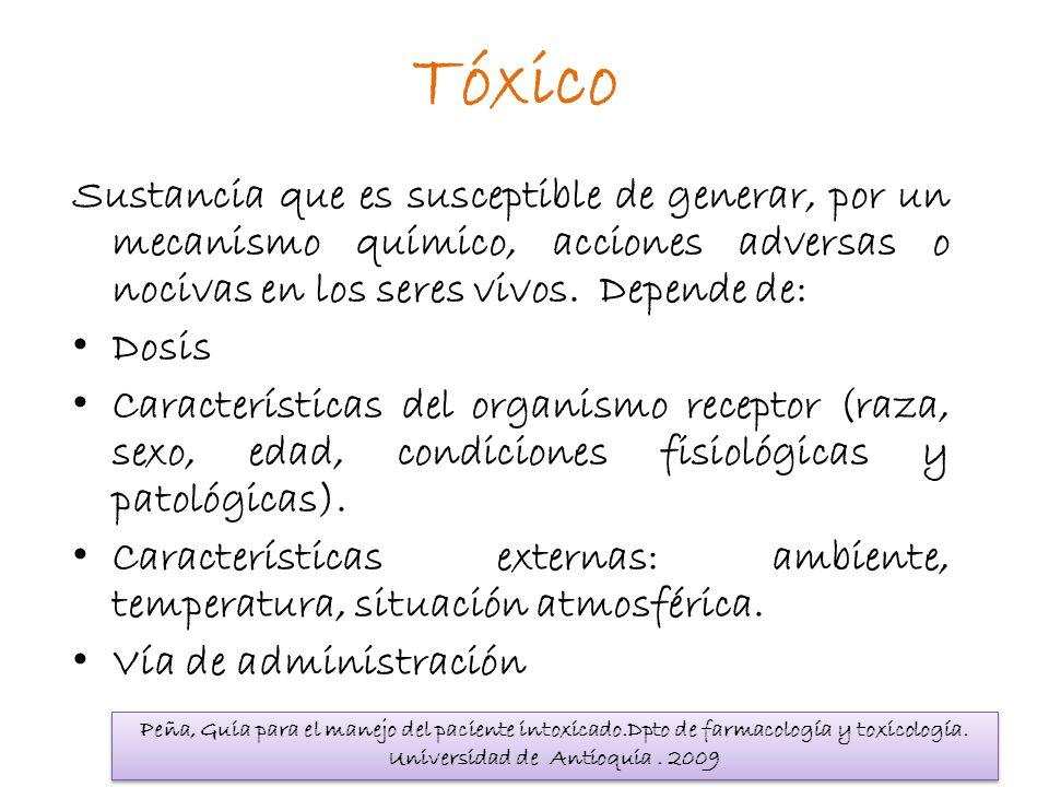 Tóxico Sustancia que es susceptible de generar, por un mecanismo químico, acciones adversas o nocivas en los seres vivos. Depende de: