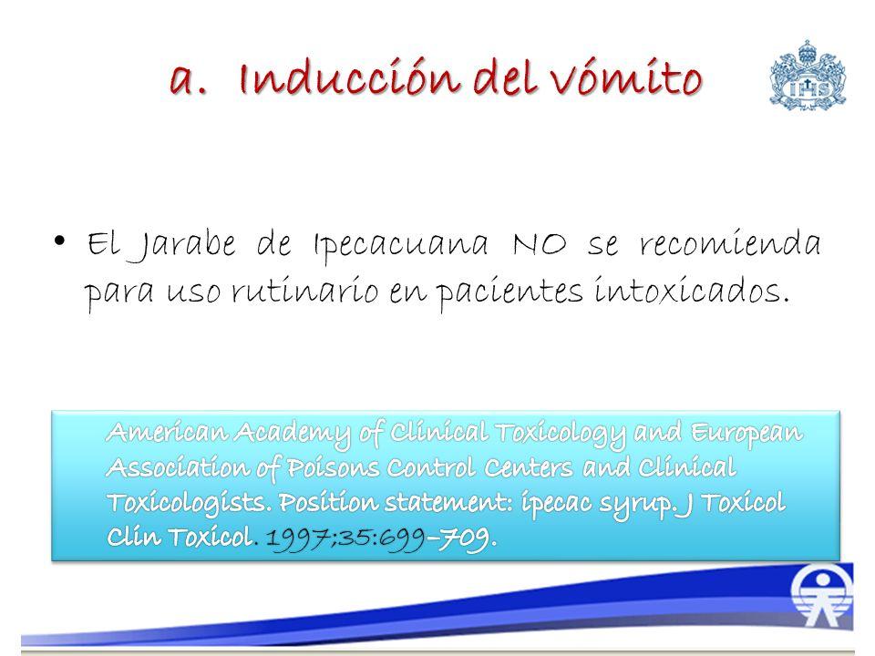 a. Inducción del vómito El Jarabe de Ipecacuana NO se recomienda para uso rutinario en pacientes intoxicados.