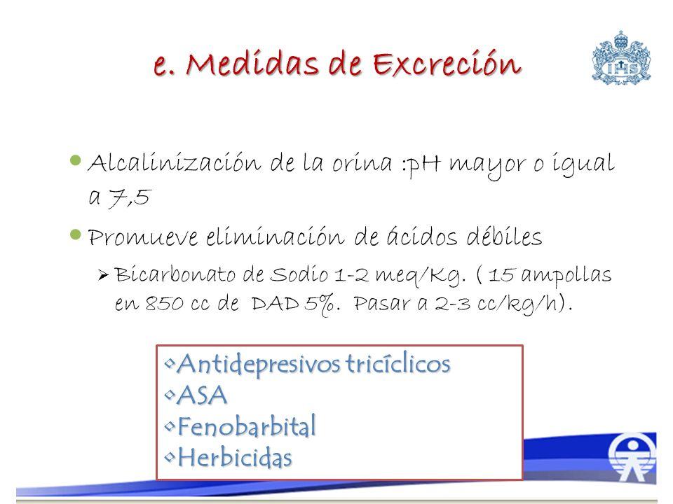 e. Medidas de Excreción Alcalinización de la orina :pH mayor o igual a 7,5. Promueve eliminación de ácidos débiles.