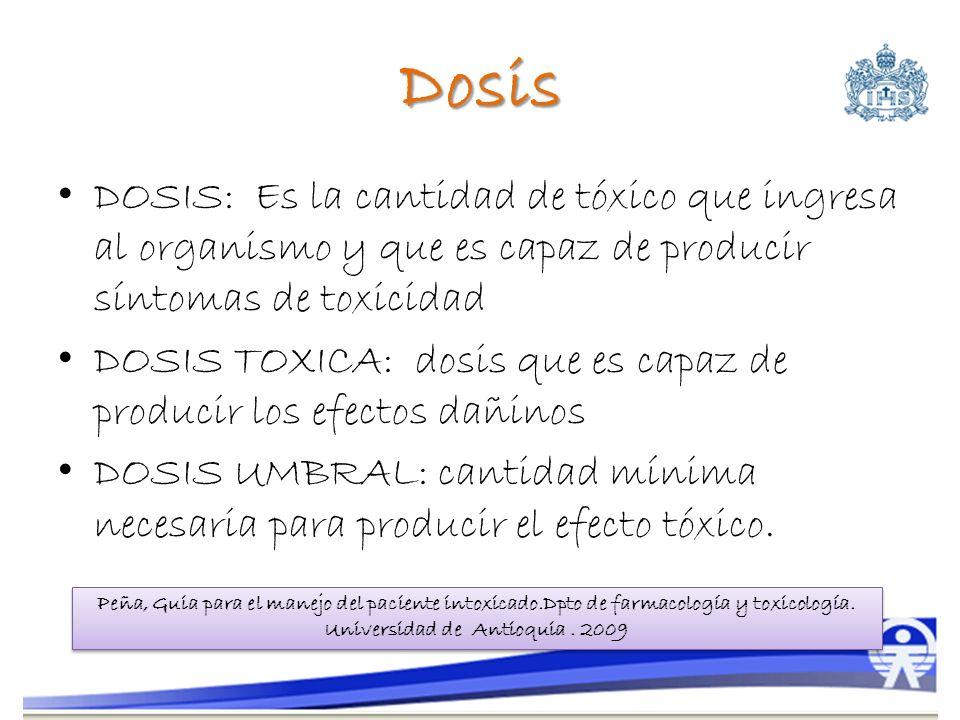 Dosis DOSIS: Es la cantidad de tóxico que ingresa al organismo y que es capaz de producir síntomas de toxicidad.