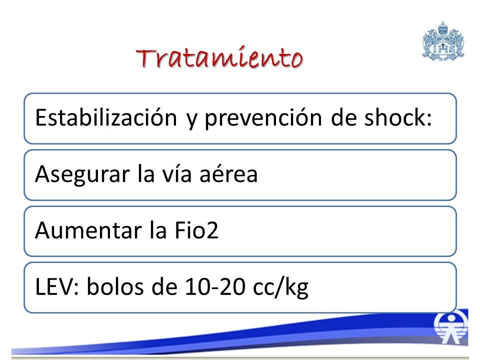 Tratamiento Estabilización y prevención de shock: