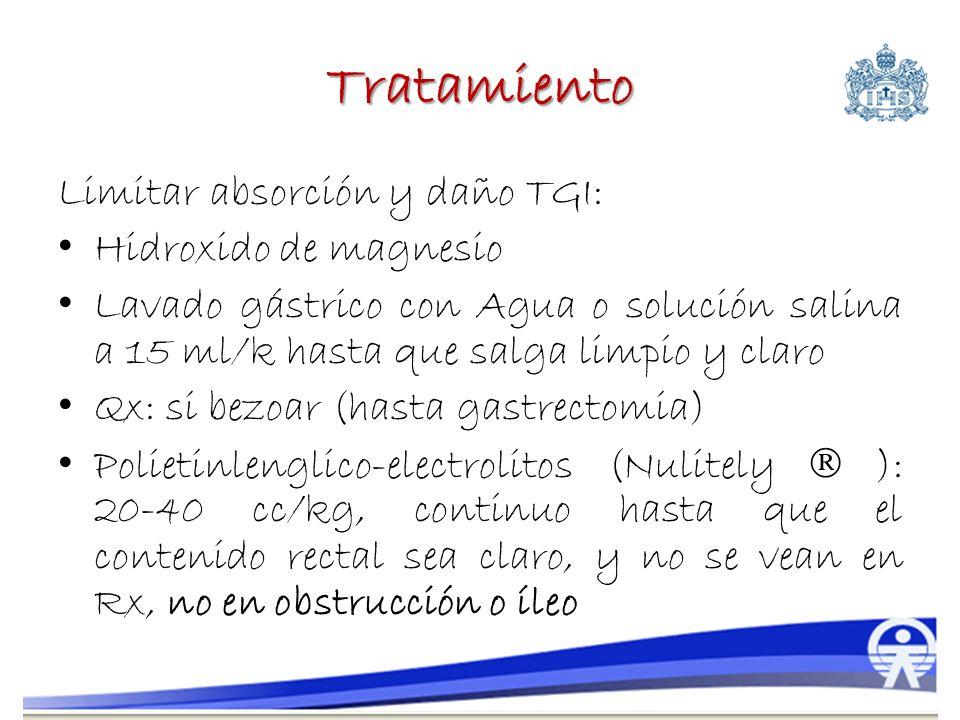 Tratamiento Limitar absorción y daño TGI: Hidroxido de magnesio