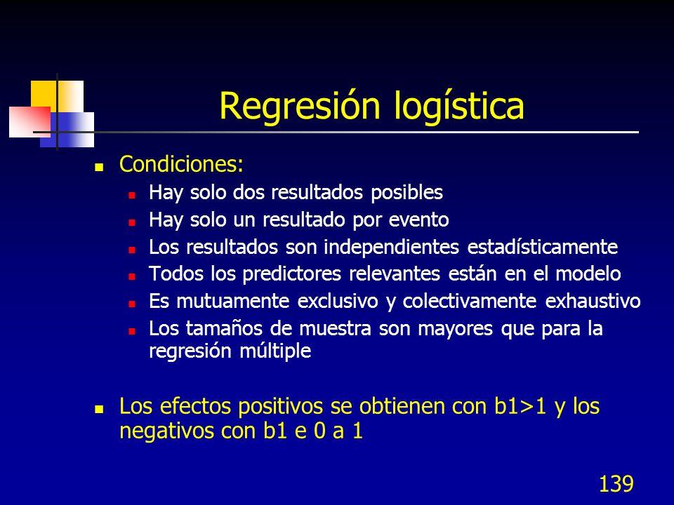Regresión logística Condiciones: