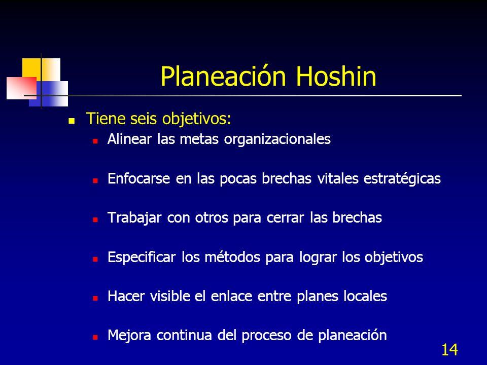 Planeación Hoshin Tiene seis objetivos: