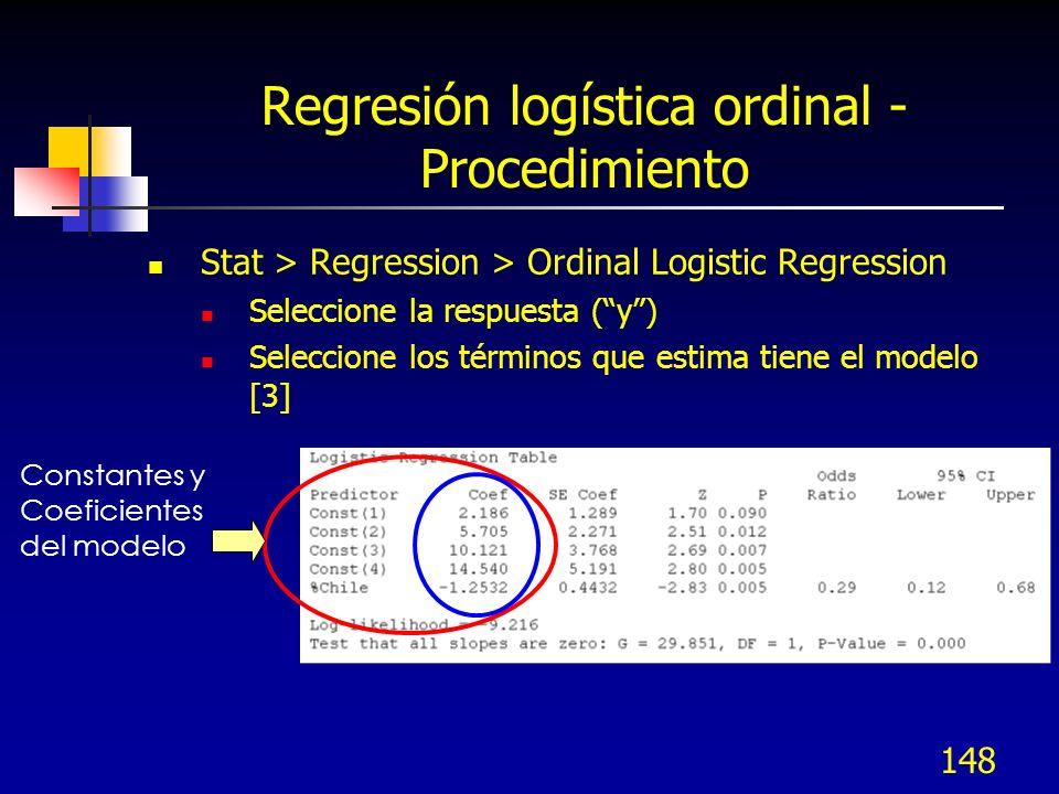 Regresión logística ordinal - Procedimiento