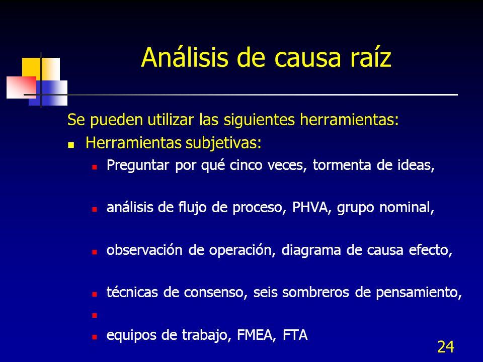 Análisis de causa raíz Se pueden utilizar las siguientes herramientas: