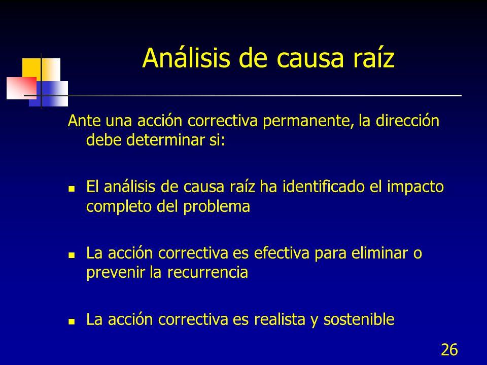 Análisis de causa raíz Ante una acción correctiva permanente, la dirección debe determinar si:
