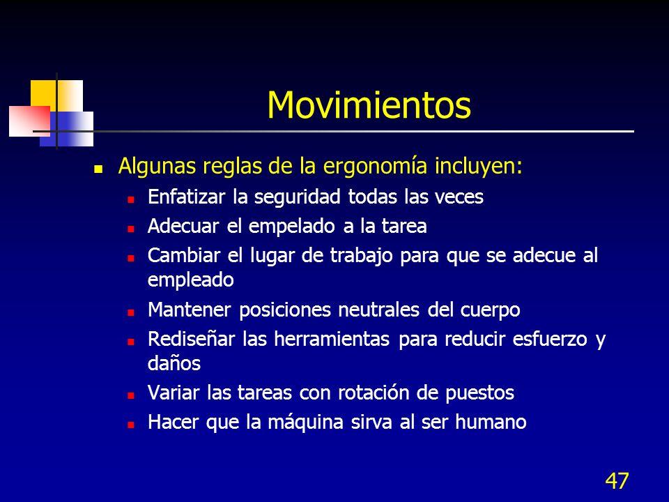 Movimientos Algunas reglas de la ergonomía incluyen: