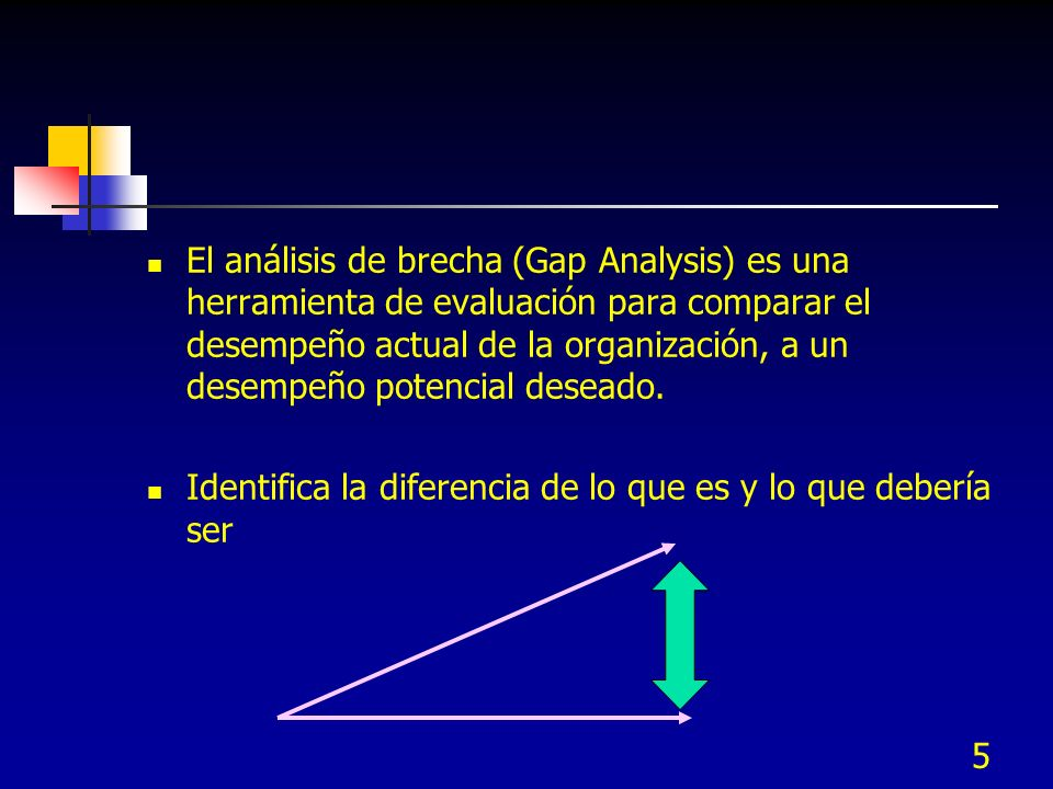 El análisis de brecha (Gap Analysis) es una herramienta de evaluación para comparar el desempeño actual de la organización, a un desempeño potencial deseado.
