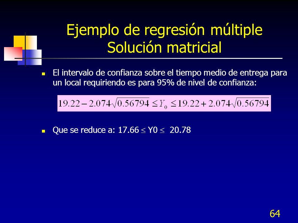 Ejemplo de regresión múltiple Solución matricial
