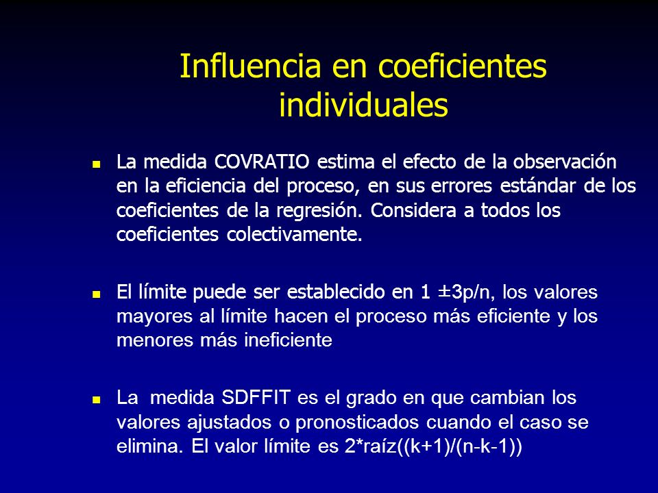 Influencia en coeficientes individuales