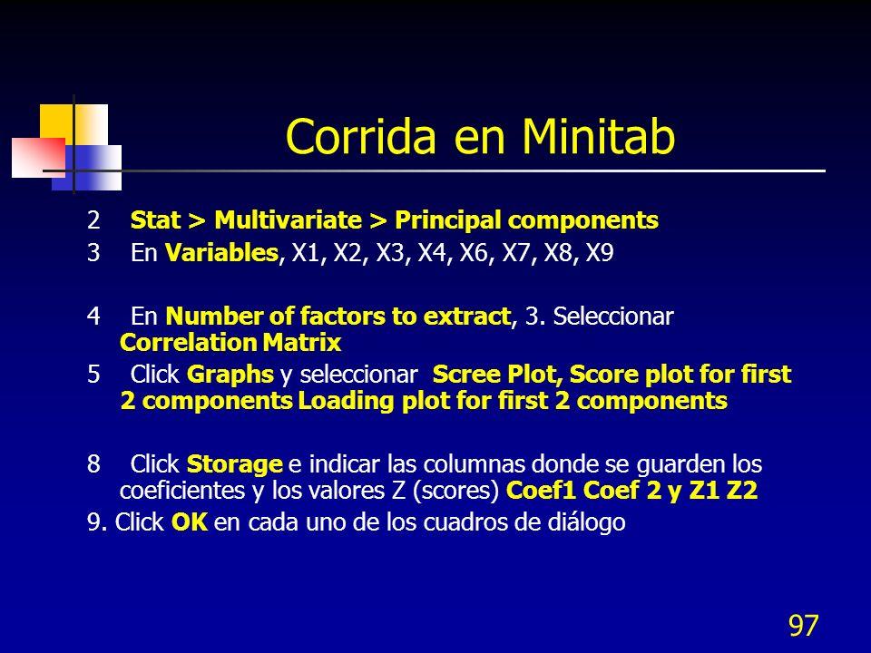 Corrida en Minitab 2 Stat > Multivariate > Principal components