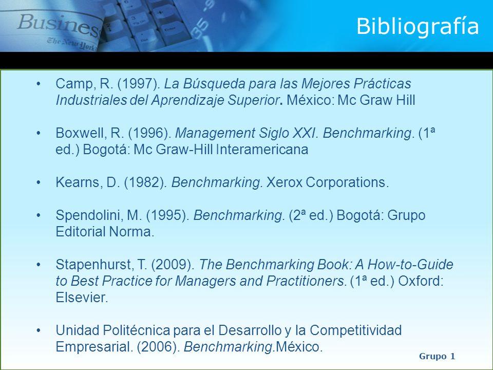 Bibliografía Camp, R. (1997). La Búsqueda para las Mejores Prácticas Industriales del Aprendizaje Superior. México: Mc Graw Hill.