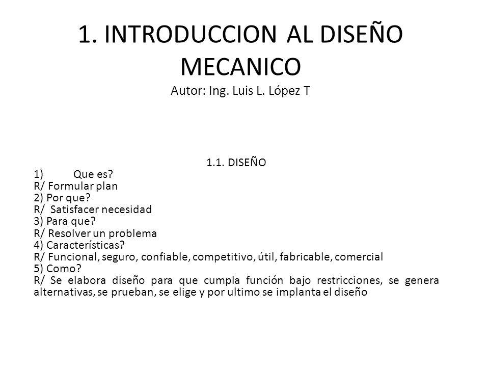 1. INTRODUCCION AL DISEÑO MECANICO Autor: Ing. Luis L. López T