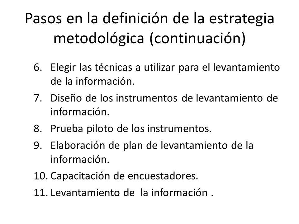 Pasos en la definición de la estrategia metodológica (continuación)
