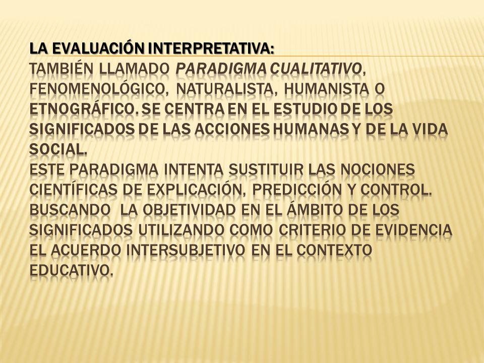 LA EVALUACIÓN INTERPRETATIVA: También llamado paradigma cualitativo, fenomenológico, naturalista, humanista o etnográfico.