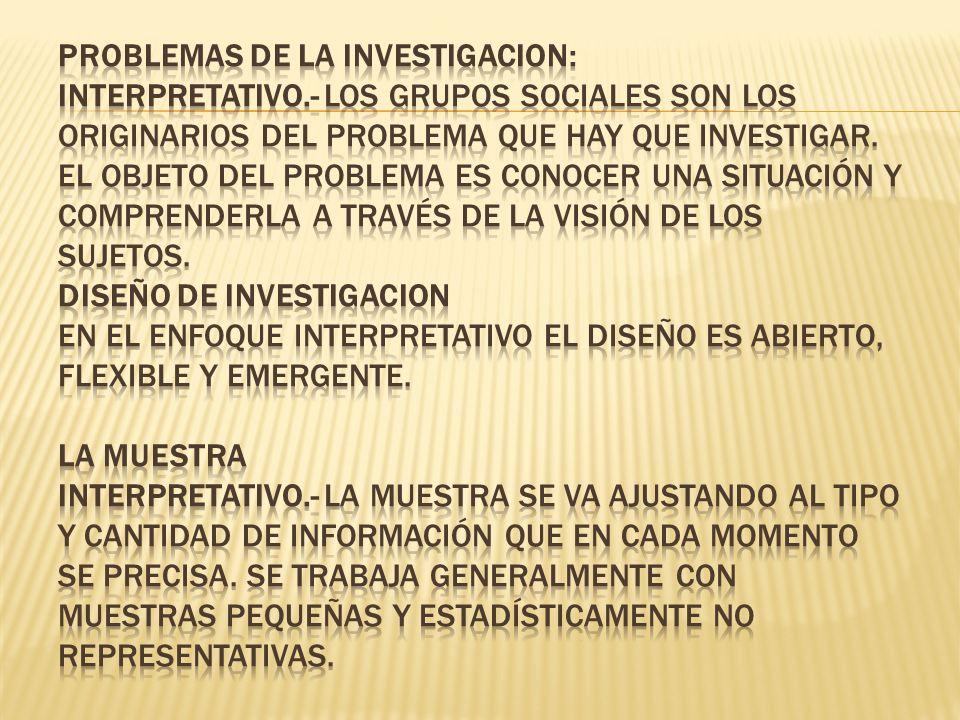 PROBLEMAS DE LA INVESTIGACION: Interpretativo