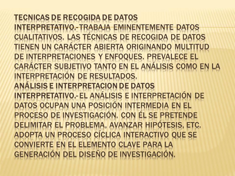 TECNICAS DE RECOGIDA DE DATOS Interpretativo