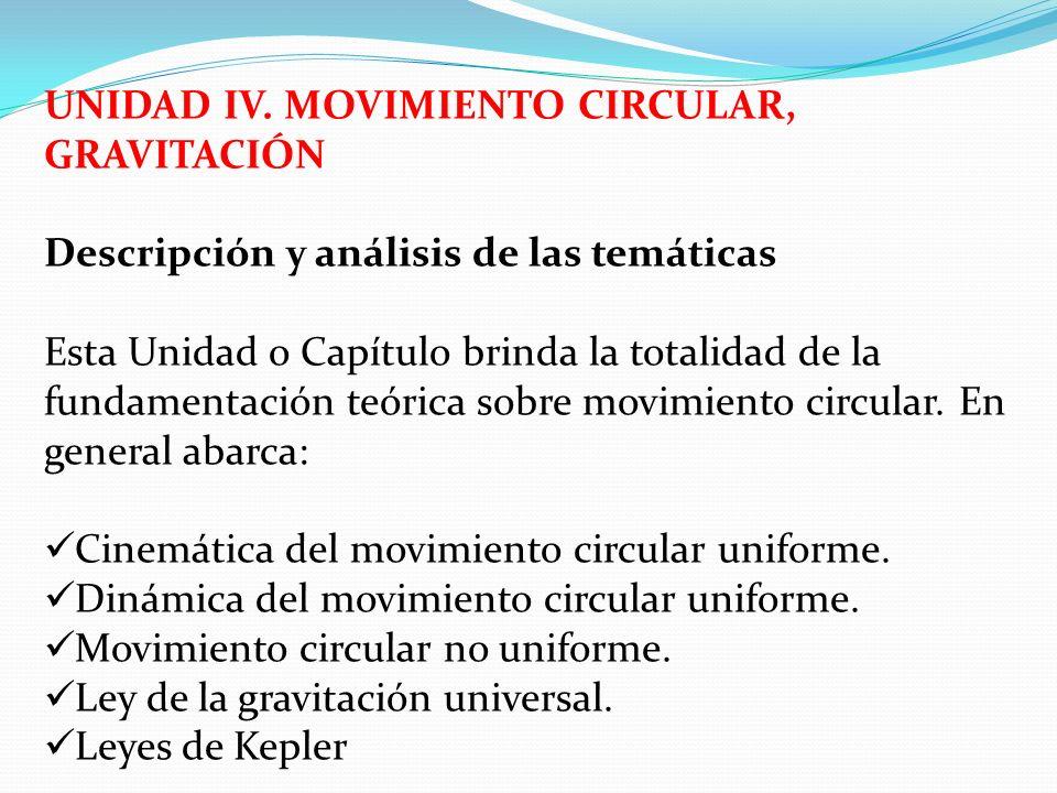 UNIDAD IV. MOVIMIENTO CIRCULAR, GRAVITACIÓN