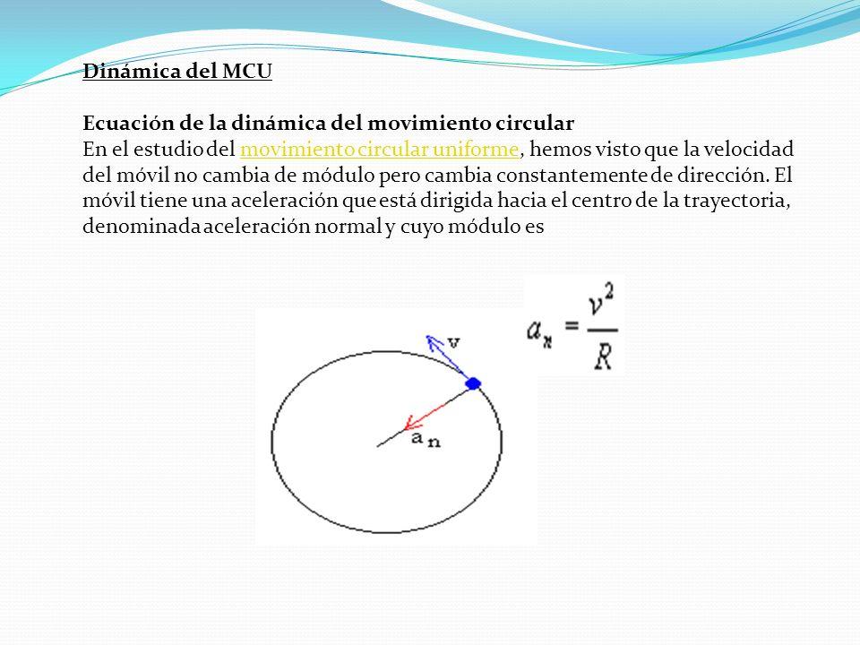 Dinámica del MCU Ecuación de la dinámica del movimiento circular.