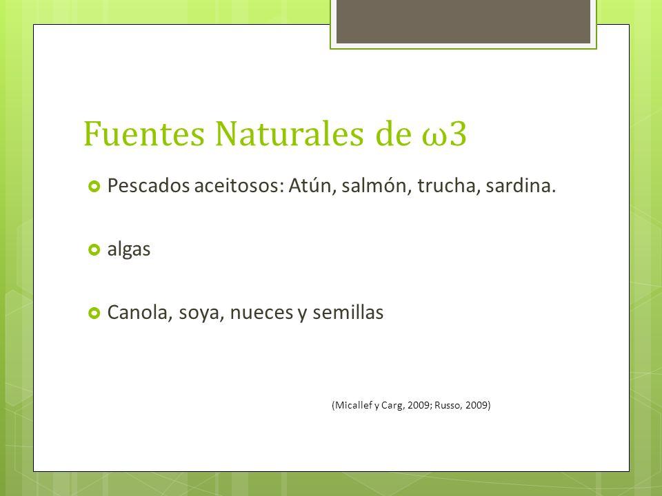 Fuentes Naturales de ω3 Pescados aceitosos: Atún, salmón, trucha, sardina. algas. Canola, soya, nueces y semillas.