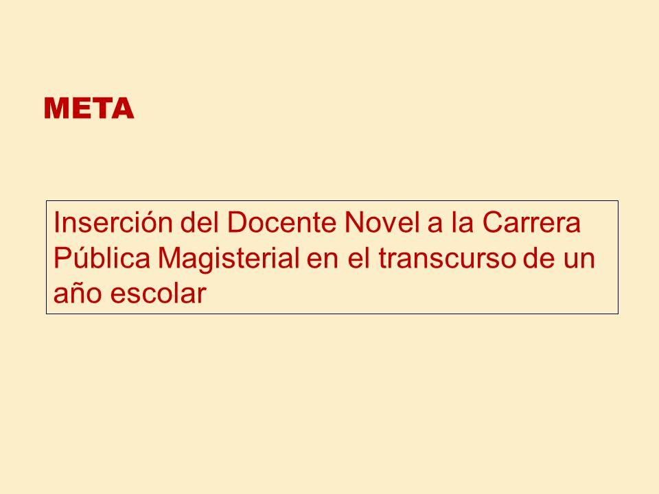 META Inserción del Docente Novel a la Carrera Pública Magisterial en el transcurso de un año escolar.